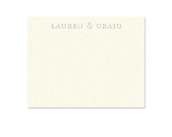 Classy Personalized blind embossed stationery   wedding stationery   thank you cards {white or cream A2 cards with matching envelopes}