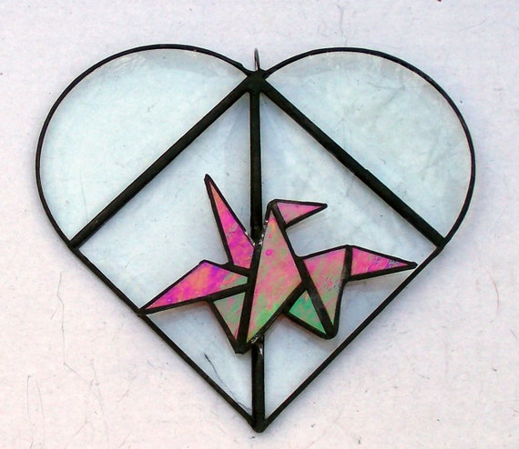 Beveled Glass Heart With Stained Glass Origami Red Crane, Valentine Gift, Symbol Of Love, Fidelity, Prosperity, Long Life, Peace, Unique