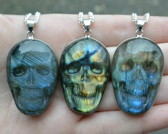 Labradorite Skull Pendant, Carved Labradorite Skull Necklace, Gemstone Carved Necklace, Labradorite Pendant, Skull Necklace, Skull Pendant