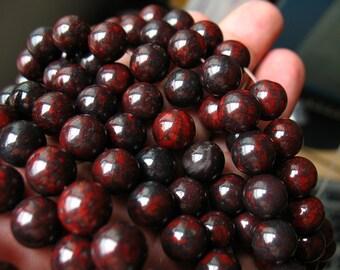 30pcs Oriental jasper round beads, bloodstone beads, rough gemstone, nature stones, semi precious stones, jewelry supplies