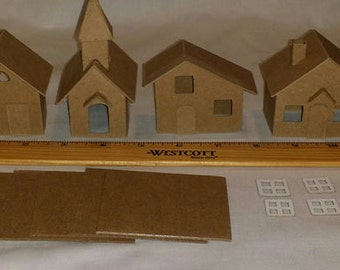 Mini Village Houses with Church- Set of 6 Putz Style Cardboard Houses
