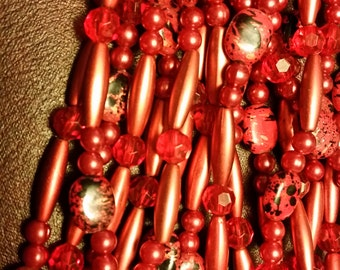 SALE!  Vintage Red Bead Strand - 19 inches