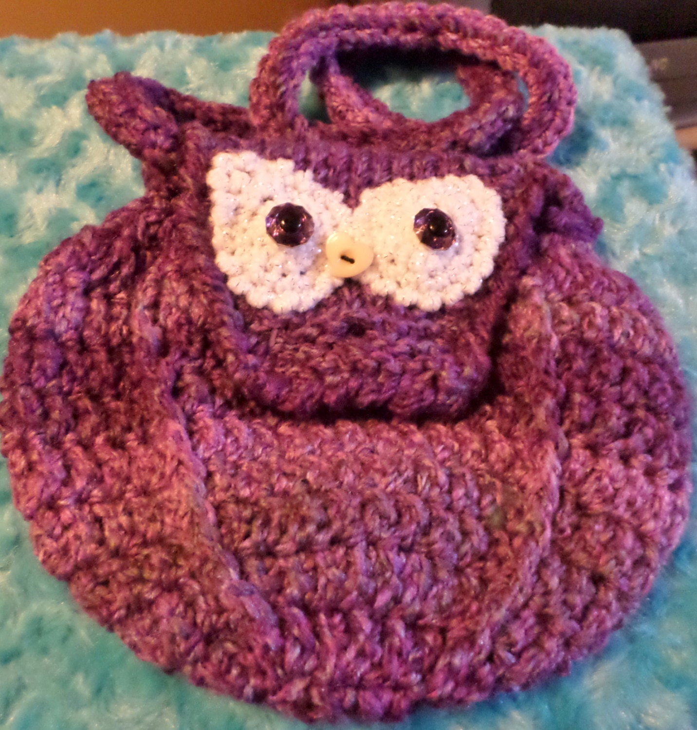 Owl Bag Knitting Pattern : Crocheted Knitted OWL BAG button closing purple with