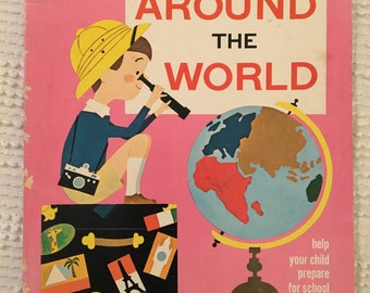 Vintage Coloring Activity Book Around the World