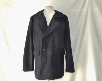 Sz 40R M Pea Coat Jacket - Double Breasted - Washable Wool Blend - 40 R - Women's 1X  14W 16 18