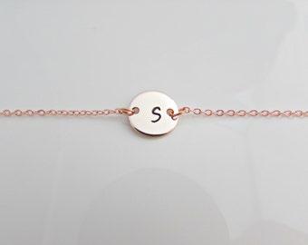 Rose Gold Initial Bracelet, Initial Bracelet, Bridesmaid Gifts, British Seller UK, Bridesmaid Bracelet, Gifts for Girls, Rose Gold Jewelry