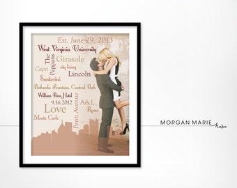 Personalized Typographic Wordle Image, Wedding Print, Skyline