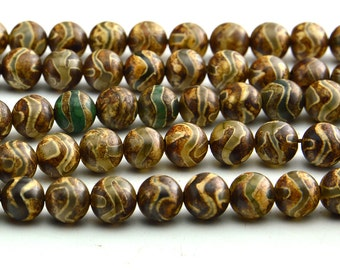 "15""  Smooth  Tibetan  Agate dZi  beads  round  bead , wave vein  --8mm"
