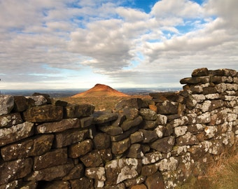 A Peek at Roseberry Topping photo greetings card giclee mounted glossy print