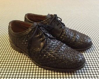 1990's, black, leather, woven, oxfords, by Harry Hall, EU Size 40, Women's US Size 9.5, Men's US Size 7.5