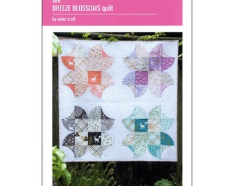 """Pattern """"Breeze Blossoms Quilt"""" by Violet Craft (VCP002) Paper Pattern Curved Piecing"""