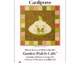 "Pattern ""Caulipuss"" Applique Quilt Block Pattern by StoryQuilts (67) Paper Pattern"