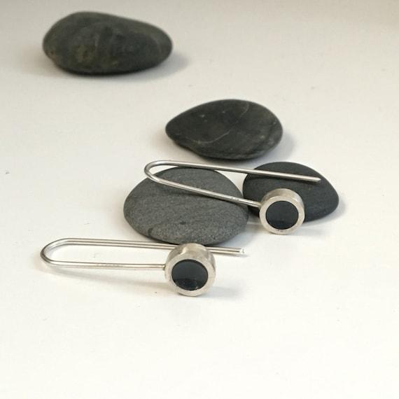 Elegant Silver and Resin Earrings