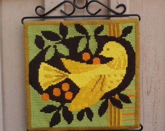 Handmade Vintage Swedish Wall Hanging. Hand Embroidered Painting with a Bird. Handmade Embroidered Picture.