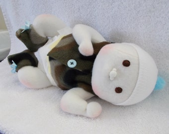Preemie Baby Boy Waldorf Inspired cloth handmade Doll Bald in Camo Brown Embroidered Eyes soft sculpted Newborn plush stuffed camouflage
