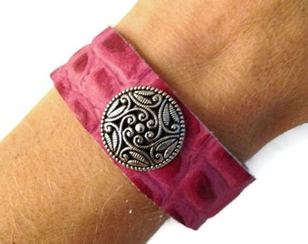Pink leather studded bracelet cuff wrist band, women's leather stud bracelet arm band.