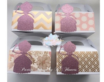 Royal Princess Party Favor Boxes (Set of 6+)
