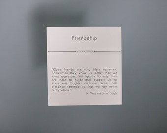 Friendship Bracelet - Sterling Silver Friendship Bracelet on Silk - Grey