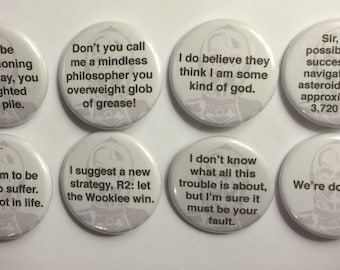 """8 C-3PO Star Wars Quotes  1 1/4"""" Pinback Clasp Buttons"""