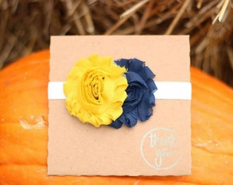 Navy and mustard yellow fall shabby flower headband