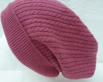 Cable cashmere hat pink beanie slouch headwear Eco-friendly accessory soft fine knitwear head cover womens pink winter hat medium beanie.