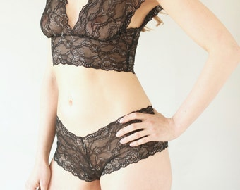 Sheer See Through Black Lace Lingerie with Silver Detail. Lace Bra and Matching French Knicker Intimates Set