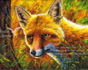 Fox portrait original acrylic painting on canvas framed forest wild animal canine autumn orange red tree woods nature morning sun fur