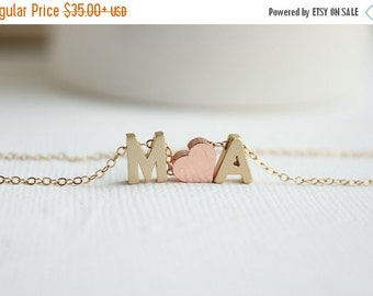 Couples Necklace, Gold Initial Necklace, Love Necklace, Gold Love Letters Necklace