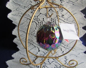 vintage GLASS EYE STUDIO  Blown Glass Christmas Ornament 3 inch Bulb  G E S 143L