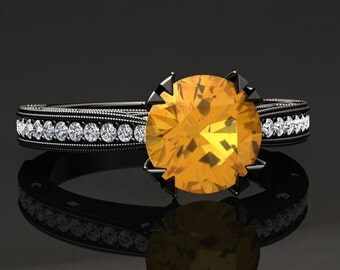 Yellow Sapphire Engagement Ring Yellow Sapphire Ring 14k or 18k Black Gold Matching Wedding Band Available W21YSBK