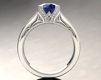 Blue Sapphire Engagement Ring Blue Sapphire Ring 14k or 18k White Gold Matching Wedding Band Available SW3BUW