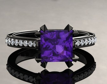 Amethyst Engagement Ring Princess Cut Amethyst Ring 14k or 18k Black Gold Matching Wedding Band Available SW12PUBK