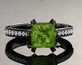 Peridot Engagement Ring Princess Cut Peridot Ring 14k or 18k Black Gold Matching Wedding Band Available SW12PERIBK