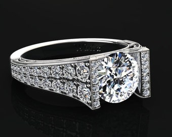Moissanite Engagement Ring Moissanite Ring 14k or 18k White Gold Matching Wedding Band Available W24MOISW