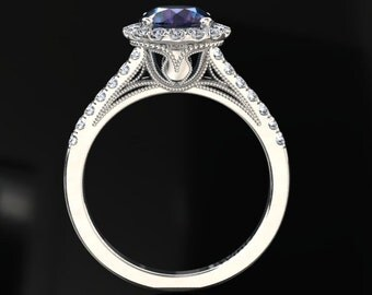 Alexandrite Halo Engagement Ring Alexandrite Ring 14k or 18k White Gold Matching Wedding Band Available W9ALEXW
