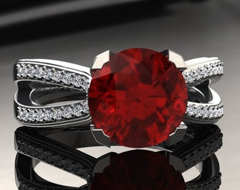 Ruby Engagement Ring Ruby Ring 14k or 18k White Gold SW7RUBYW