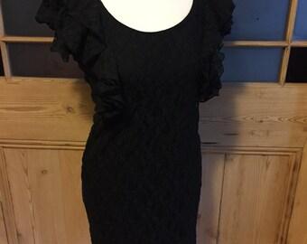 Vintage 90s black lace dress Sasperilla UK size 10 US 6