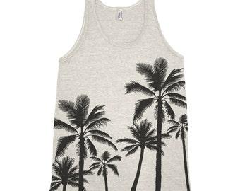 Palm Trees Mens Tank Top Triblend Tank Top Hand Screen Print