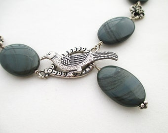 SALE - Oregon Green Obsidian with Sterling Silver Bird Clasp