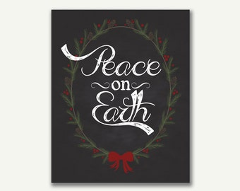 Christmas Chalkboard Printable - Instant Download - Peace on Earth - 8x10 - 16x20