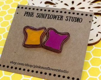 Peanut Butter and Jelly Sandwich Plastic Stud Earrings Small