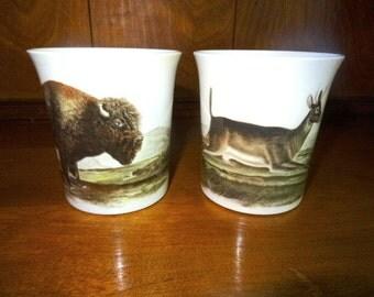 China Mugs Buffalo and Deer Pair