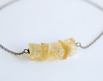 Citrine necklace, raw crystal necklace,raw stone jewelry,gemstone necklace, raw quartz necklace, everyday necklace, layered necklace,