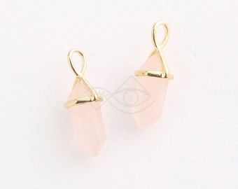 1079021 / Rose (Small) / 16k Gold Plated Brass Framed Synthetic Stone Pendant  8mm x 25mm / 1.6g / 2pcs