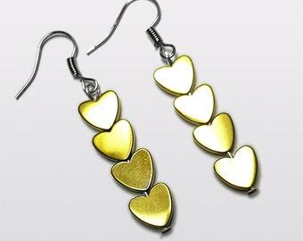 Beautiful Bright Hematite Heart earrings