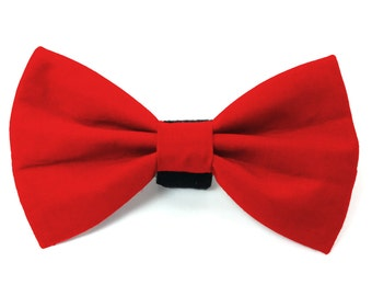 Plain red dog bow tie & cat bow tie