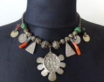 Old vintage silver, Coral and coins Berber necklace from Morocco. Free shipping worldwide!