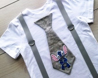 Keeping You In Stitches Tie T Shirt with Suspenders  Size  0-3 mo, 3-6 mo, 6-12 mo, 18 mo, 24mo, 2t, 3t, 4t, 5/6