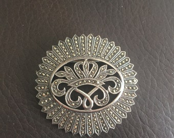 Beautiful Vintage Sterling Silver and Marcasite Pin