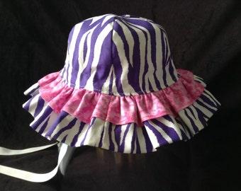 PURPLE ZEBRA & Hot Pink Toddler Baby Girl SUNHAT  6- 12  Double Ruffles  Months, Sun Hat Sun Bonnet Beach Hat